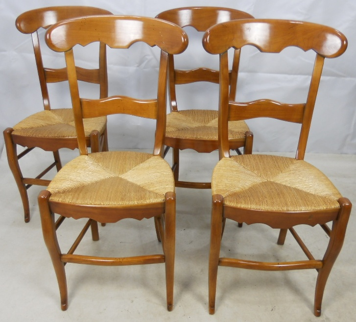 Set of four cherry wood antique style dining chairs sold